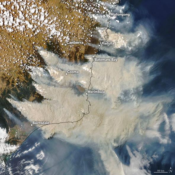 Rook van de bosbranden boven Oost-Australië op een satellietbeeld (4 januari 2020)